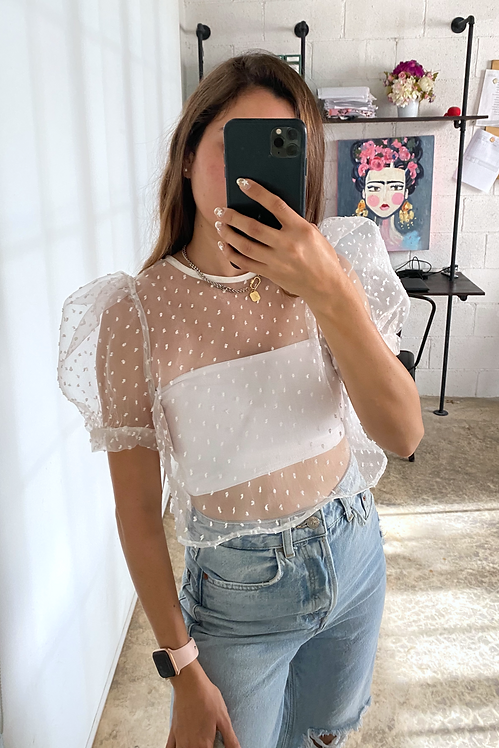 Crop top organza blanca