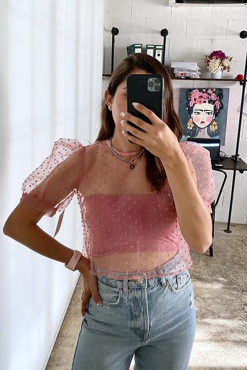 Crop top organza rosa