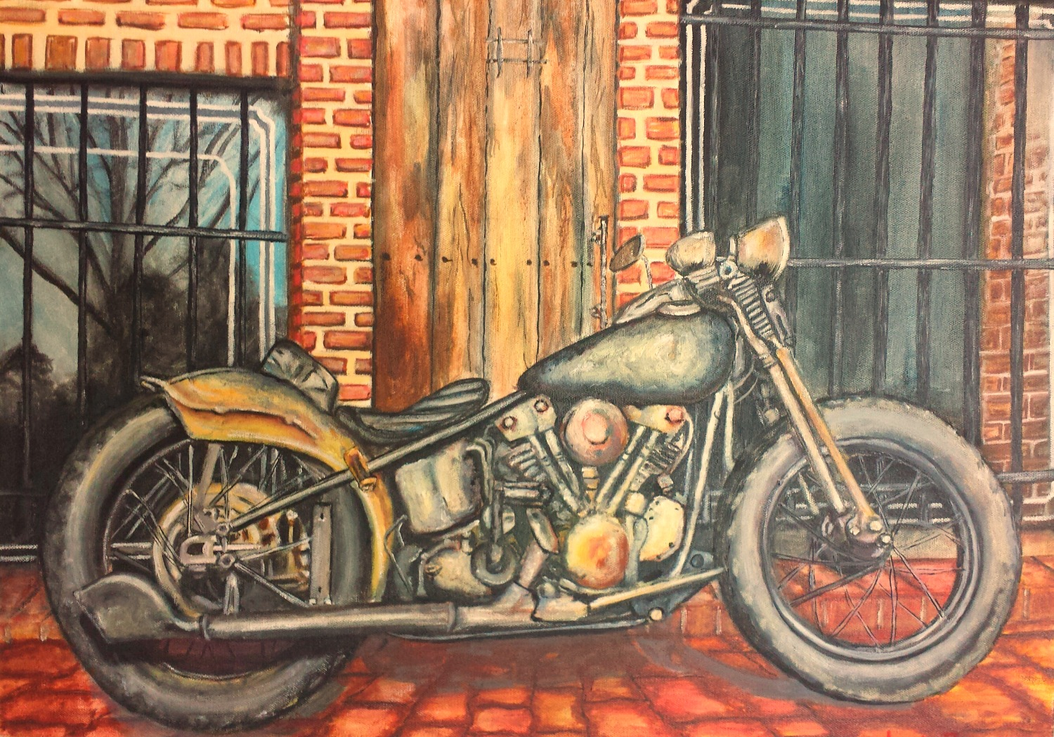 Motorcycle in Oil