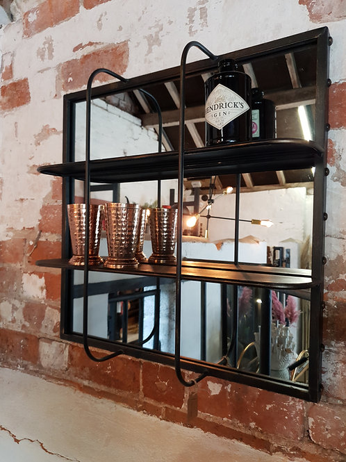 Industrial mirror with shelves
