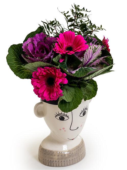 Ceramic Doodle Woman's Face Vase