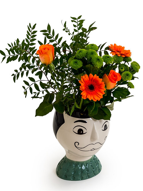 Ceramic Doodle Man's Face Vase - Moustache