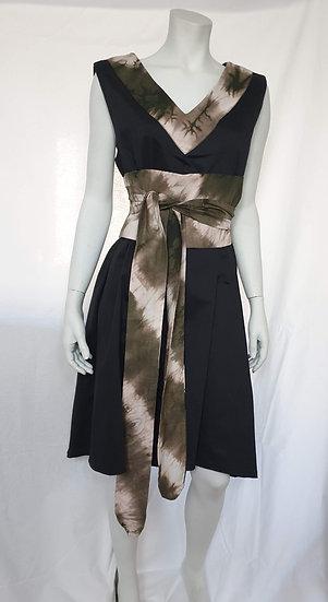 Black dress with Tie & Dye Corset Wrap
