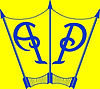 logo blue with yellow background and sur