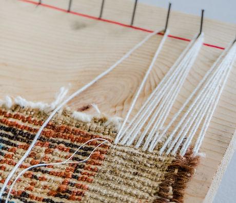 Repairing fringes on damaged rug .jpg