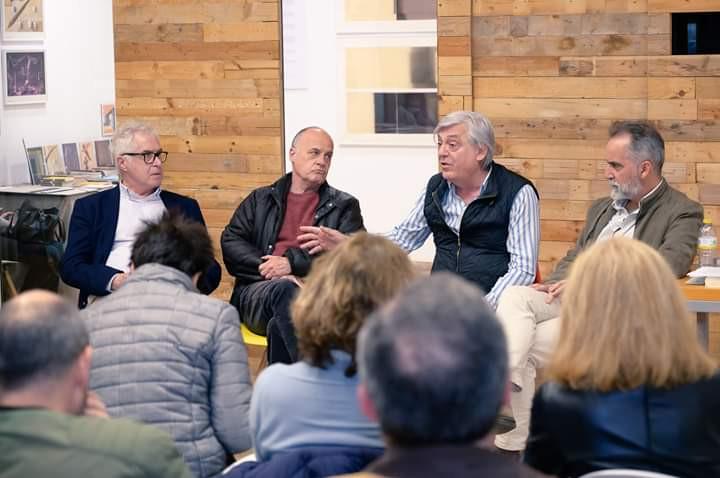 Salvador Albiñana, Vicente Jarque, Juan Lagardera y Joël Mestre en el acto organizado por la Biblioteca Valenciana en PAPER VALÈNCIA. (5/4/19)