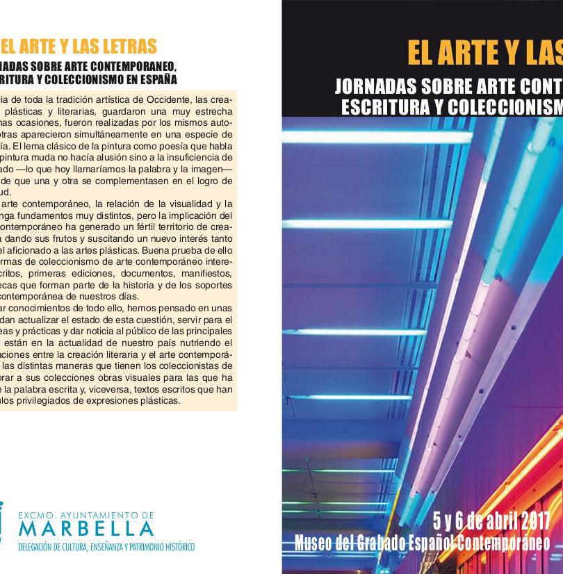Jornadas sobre arte contemporaneo escritura y coleccionismo en España 5 y 6 de abril de 2017 Museo del Grabado de Marbella (Málaga)  Enrique Andres Ruiz, Teresa Moro, Joël Mestre y Andres Catalan.