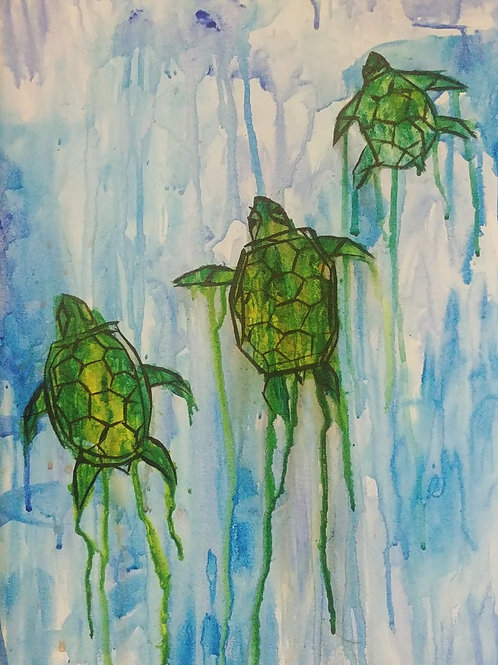 Dripping Turtles Acrylic Painting