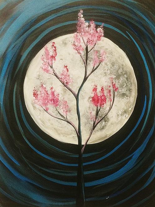 Full Moon Sapling Acrylic Painting