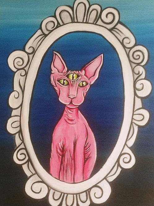 3 Eyed Cat Acrylic Painting