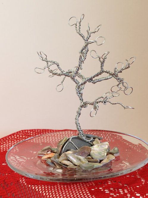 Stone and Wire Tree Earring Holder with Dish