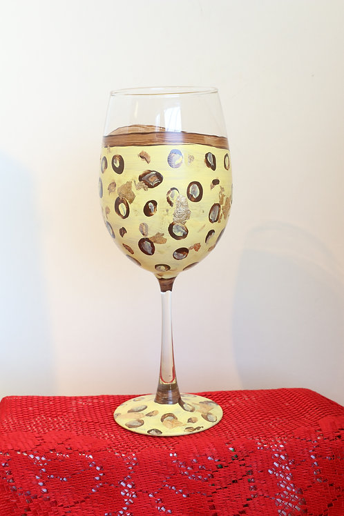 Cheetah Print Wine Glass