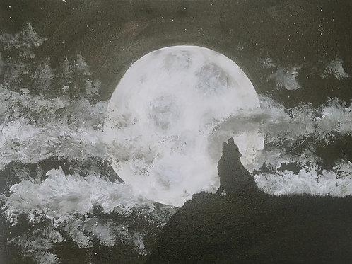Wolf Howling at the Moon Acrylic Painting