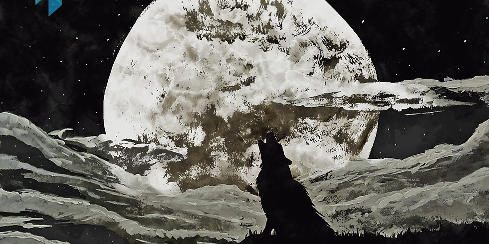 Howling at the Moon Acrylic Painting