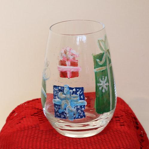 Christmas Present Stemless Wine Glass
