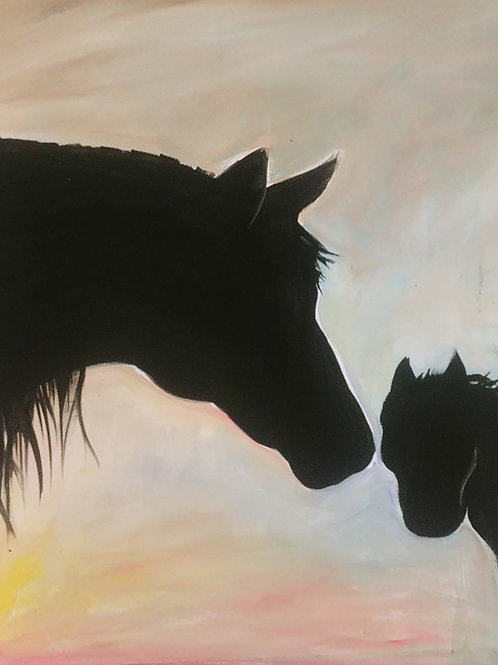 Horse Family Acrylic Painting