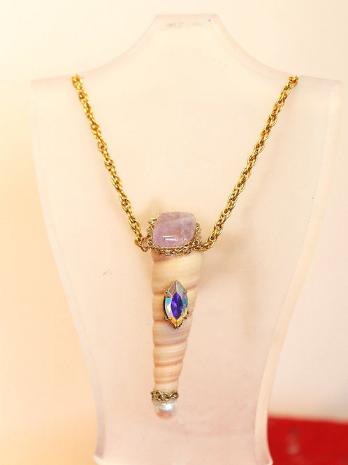Amethest and Seashell Necklace