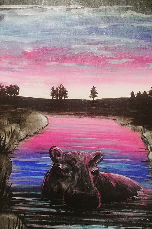 Happy Hippo Acrylic Painting