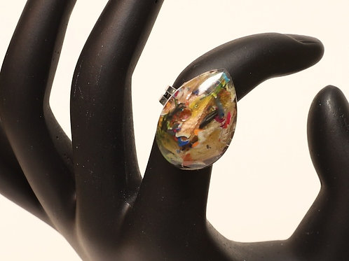 Teardrop Shaped Pencil Crayon Resin Ring
