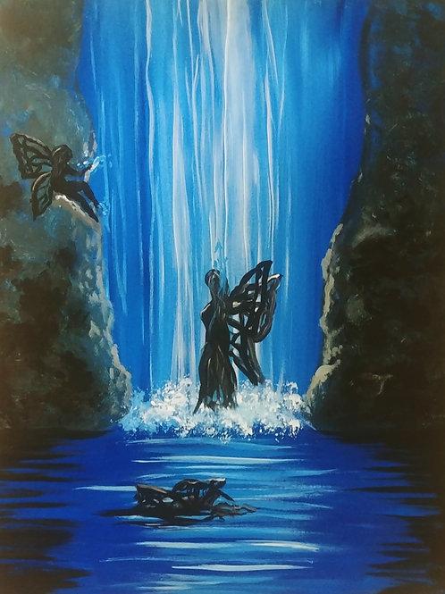 Waterfall Fairies Acrylic Painting