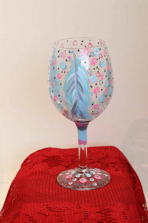Blue Feather Wine Glass