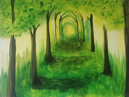 Green Spring Path Acrylic Painting