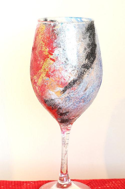 Fire and Ice Glitter Wine Glass