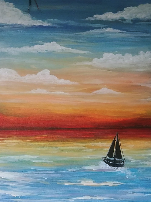 Sailing Away Acrylic Painting