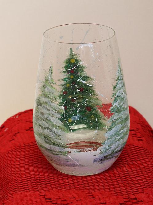 Snowy Christmas Tree Stemless Wine Glass