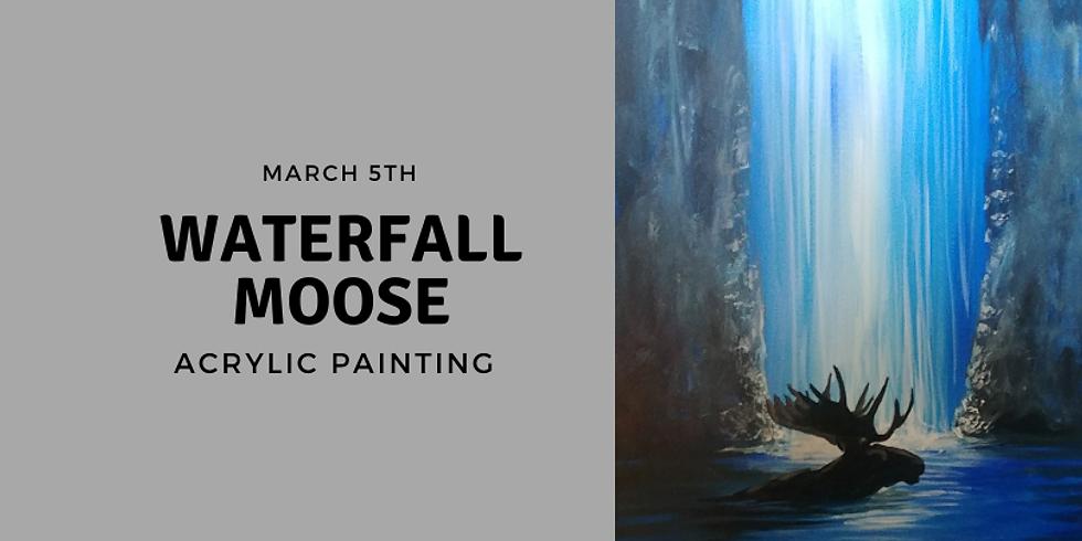 Waterfall Moose Acrylic Painting