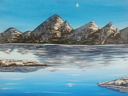 Blue Lake Acrylic Painting
