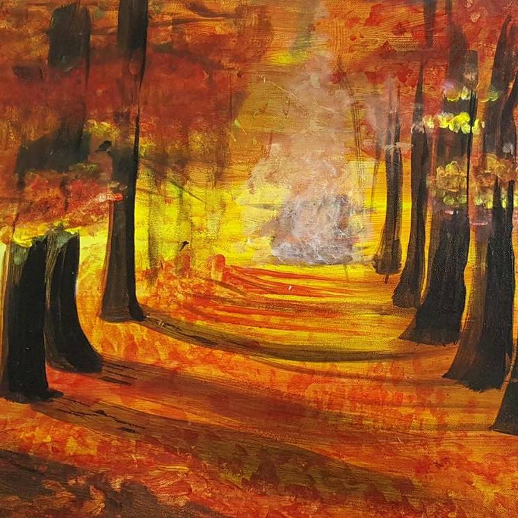 Fall Path Acrylic Painting