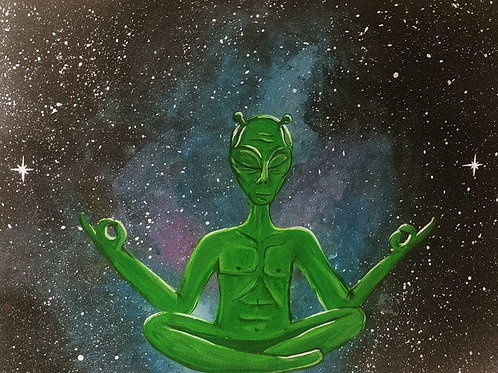 Yoga Alien Acrylic Painting
