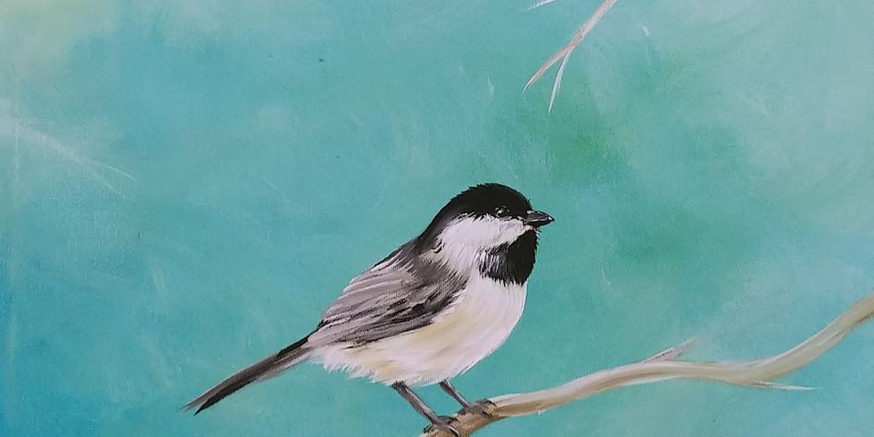 Chickadee Acrylic Painting