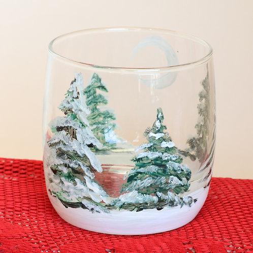 Snowy Trees Scotch Glass