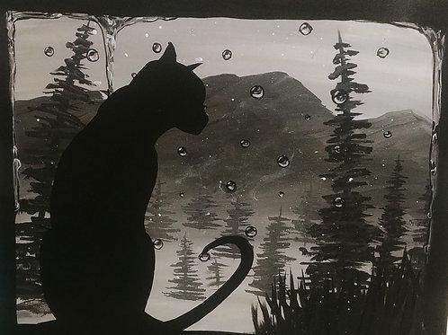 Rain Day Cat Acrylic Painting