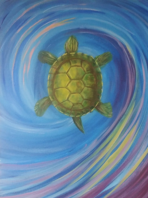 Swirling Turtle Acrylic Painting