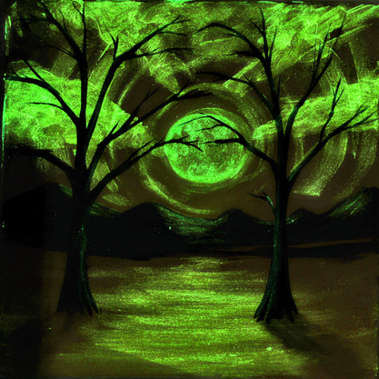Orange with 2 trees glow paint lights of