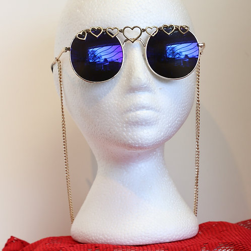 Heart Shaped Sunglasses with Chain
