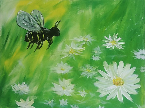 Spring Bee Acrylic Painting