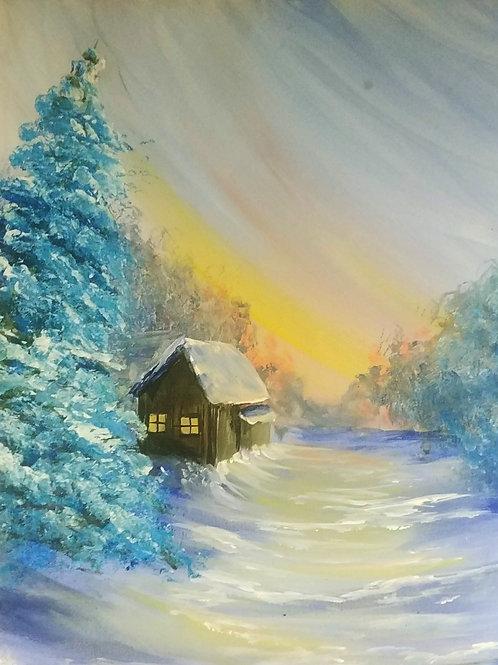 Snowy Cabin Acrylic Painting
