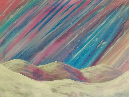Snowy Skies Acrylic Painting