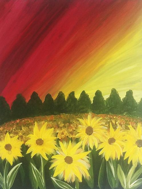 Sun Flower Field Acrylic Painting