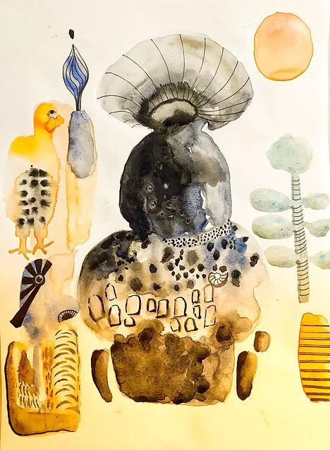 ROBERTA PIZZORNO italian artist watercolor ink inspired african