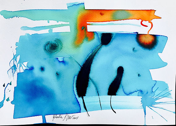 ROBERTA PIZZORNO art beautiful cerulean ink abstract art