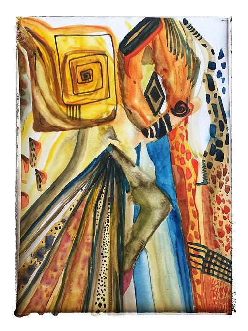 ROBERTA PIZZORNO italian artist watercolor ink inspired African colors