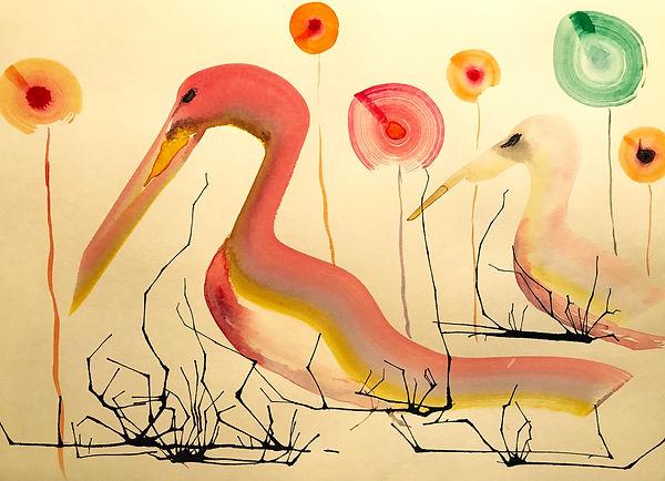 ROBERTA PIZZORNO art watercolor and ink swans art