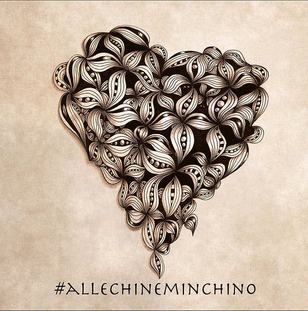 #allechineminchino @Roberta Pizzorno die ersten blumen, cuore fiorito, ink draw, disegno a china