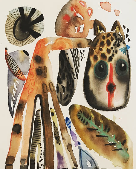 ROBERTA PIZZORNO african giraffe  watercolor ink gouche
