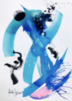 ROBERTA PIZZORNO art beautiful cerulean ink abstract art